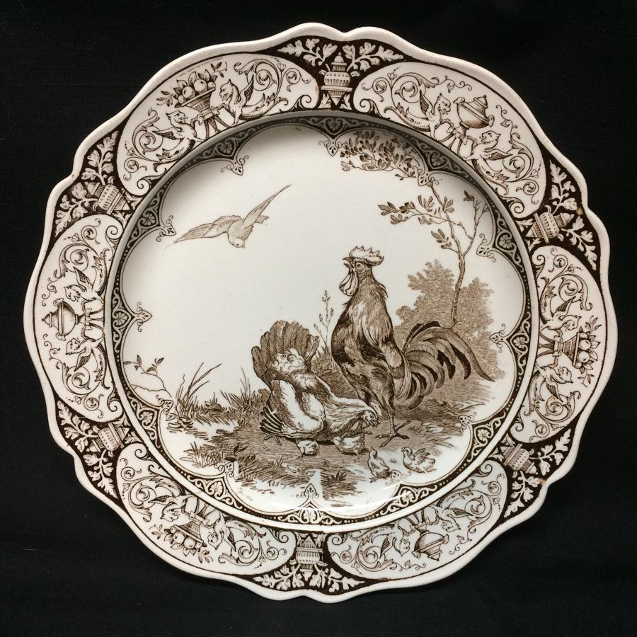 Wedgwood Rural Scenes CHICKENS Plate ~ 1877