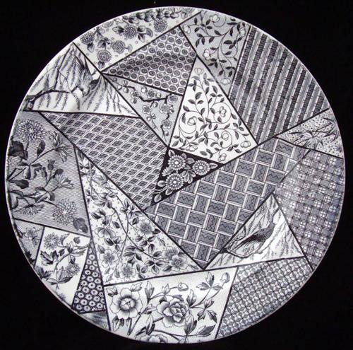 STAFFORDSHIRE Black Transferware Plate ~ Floris Ligna 1885