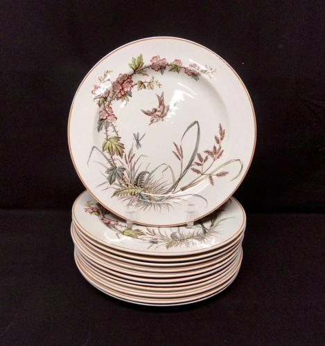 12 ~ Antique Hand Colored Transferware Plates ~ DRAGONFLY ~ 1883