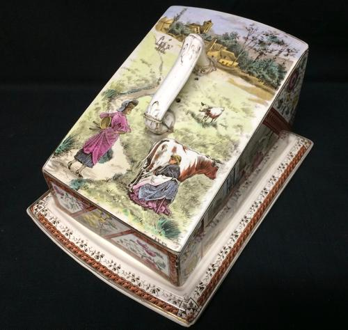 1889 ~ Antique English Polychrome Cheese Keep ~ MILKMAIDS 1889