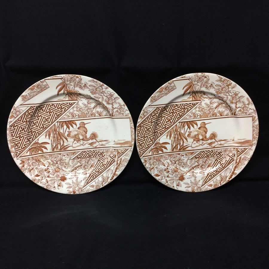 Two Brown Transferware Staffordshire Plates ~ PEAFOWL 1888