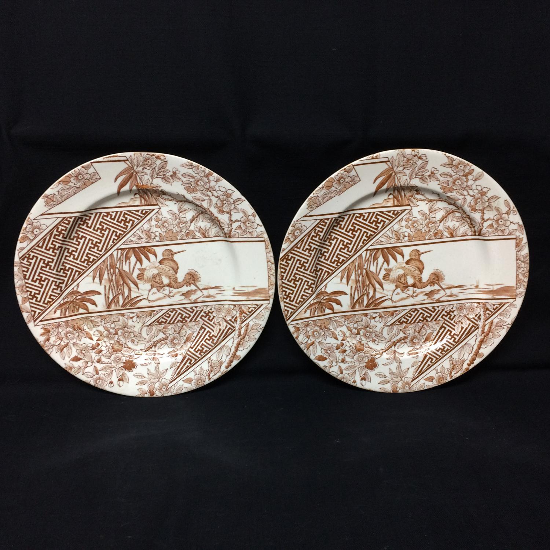 Two Brown Transferware Staffordshire Plates ~ PEAFOWL 1888