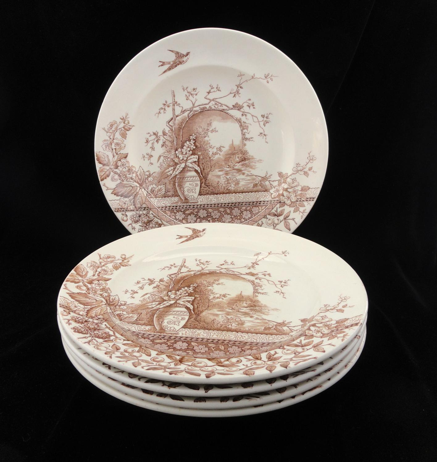 Five Brown Transferware English Dinner Plates ~ RUSTIC 1886