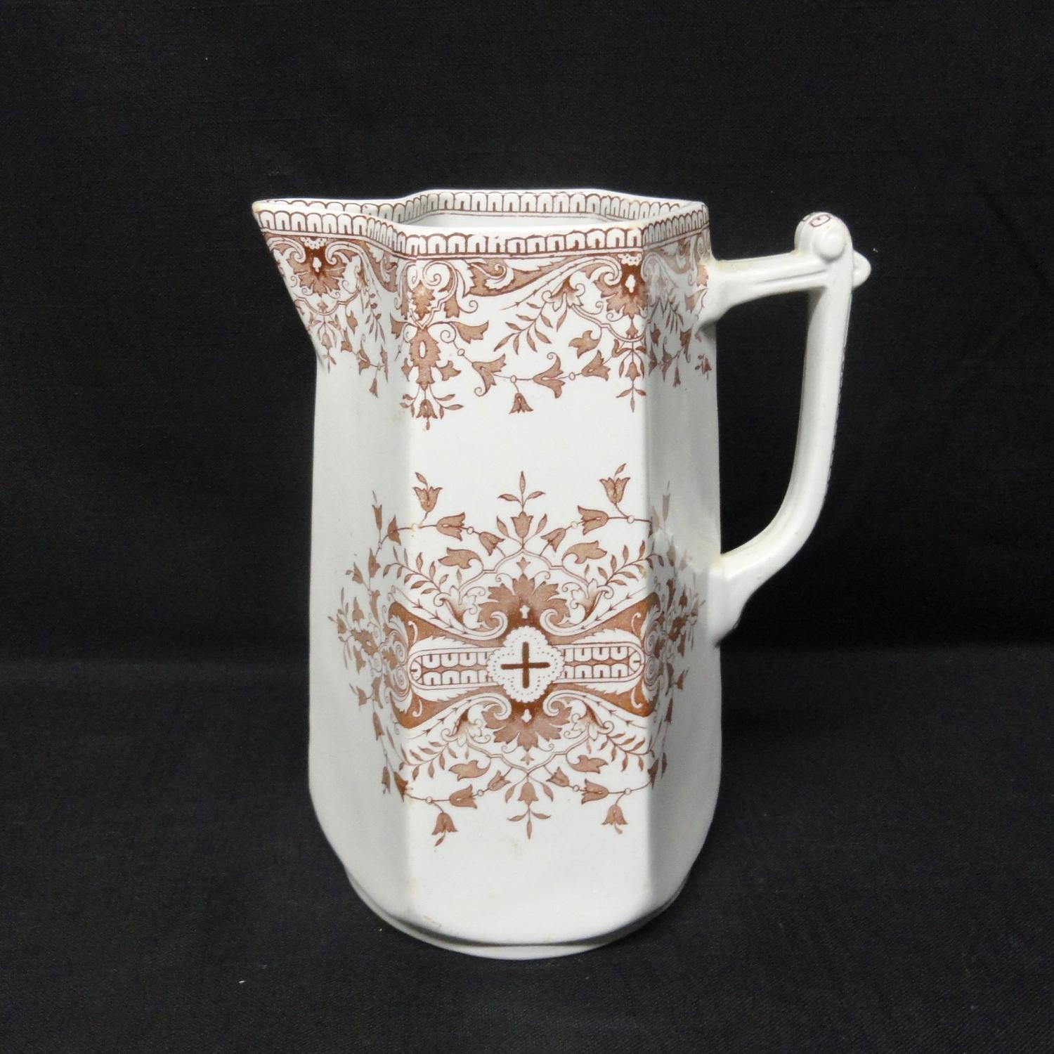 Aesthetic Movement Transferware Water Jug ~ TOURNAY 1885
