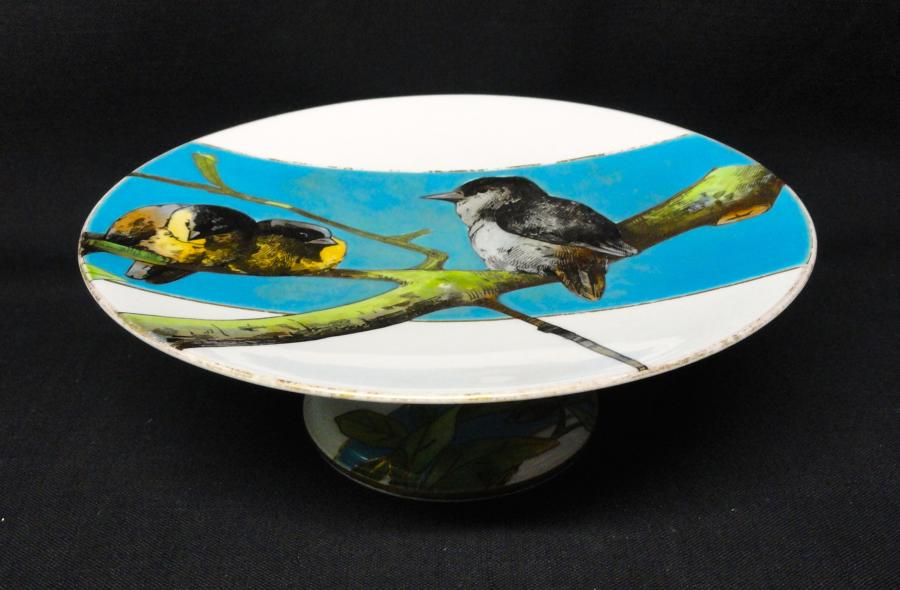 Victorian English Tazza Comport ~ SONGBIRDS 1878