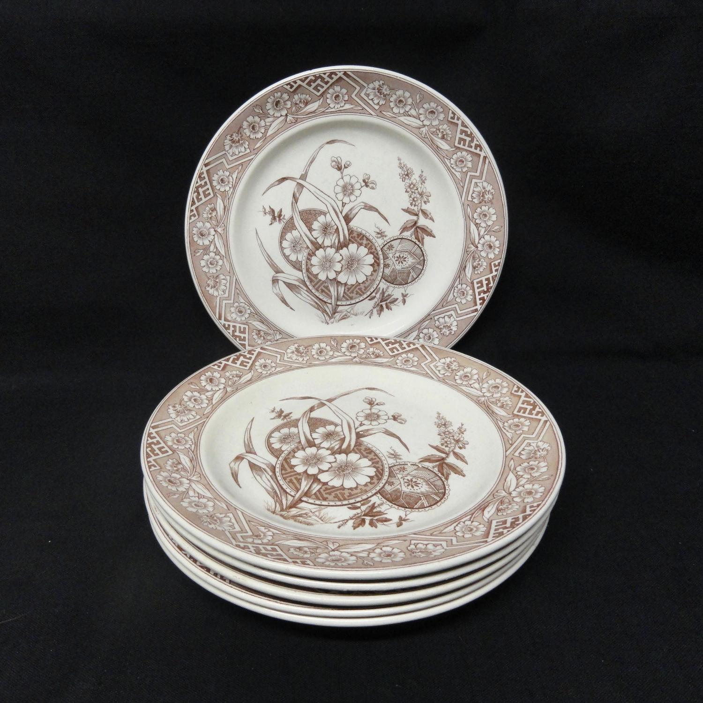 SIX Aesthetic Movement Plates ~ FLORENCE 1882