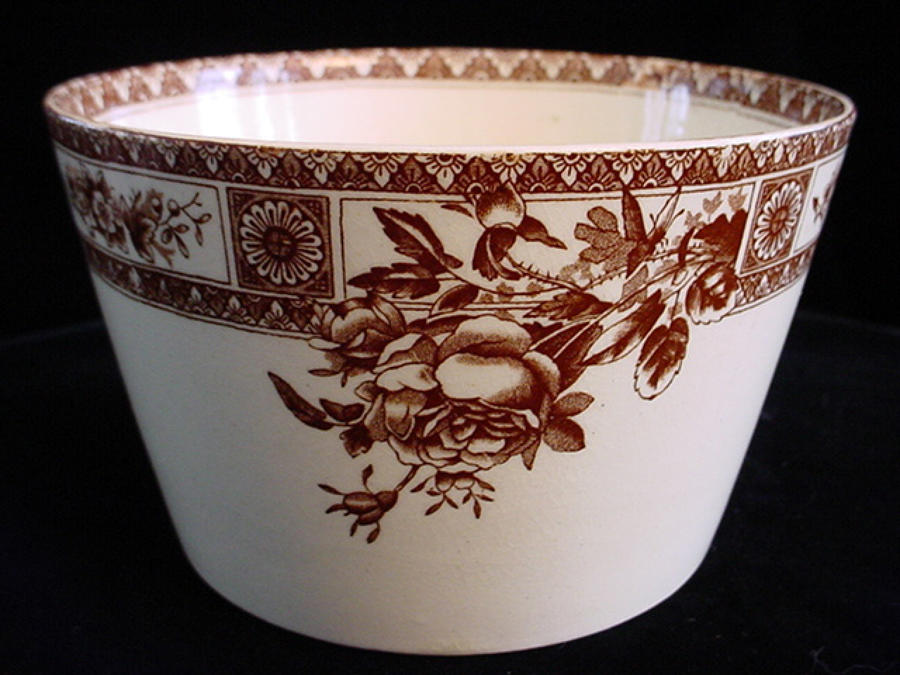 BROWN TRANSFERWARE WASTE BOWL ~ GARFIELD 1885