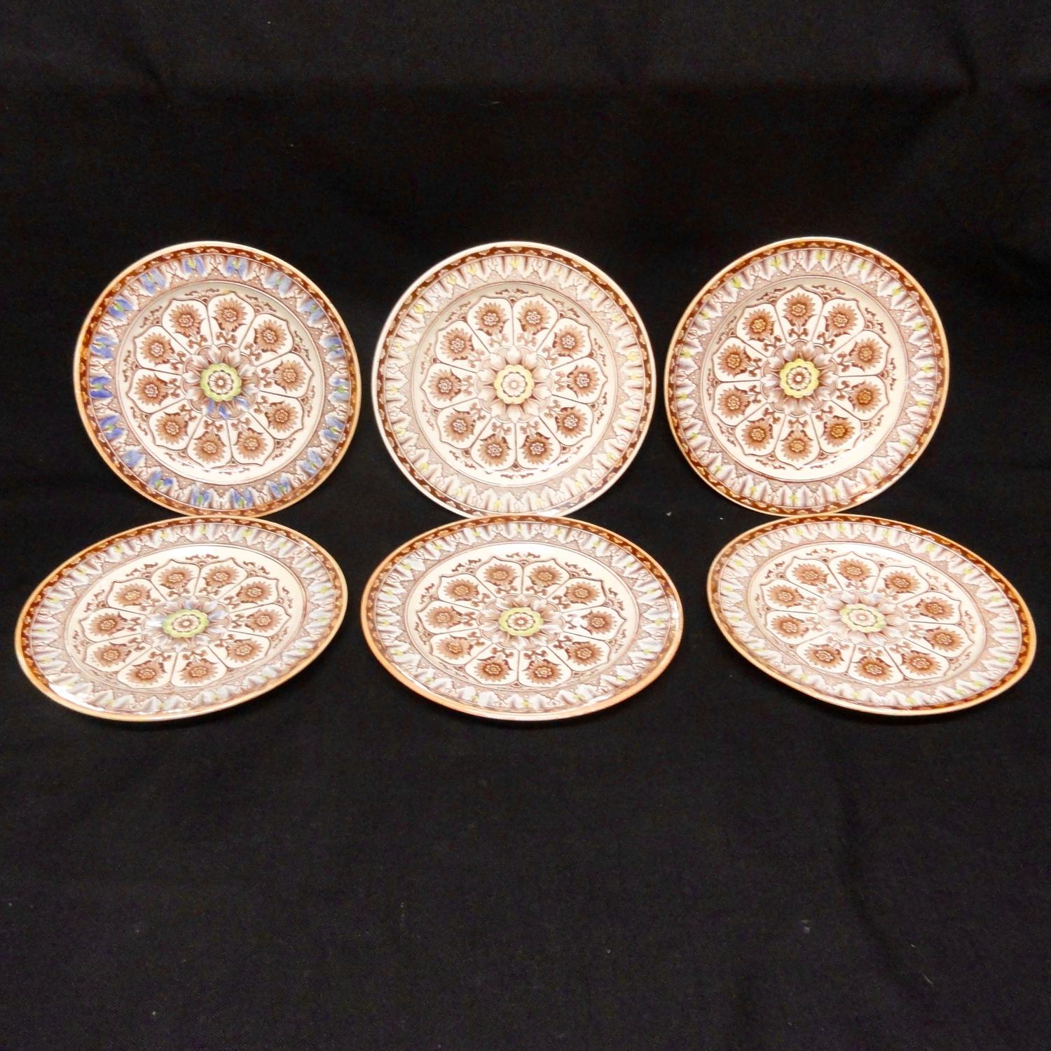 6 ~ Antique Polychrome Brownware Plates ~ CYPRUS 1885