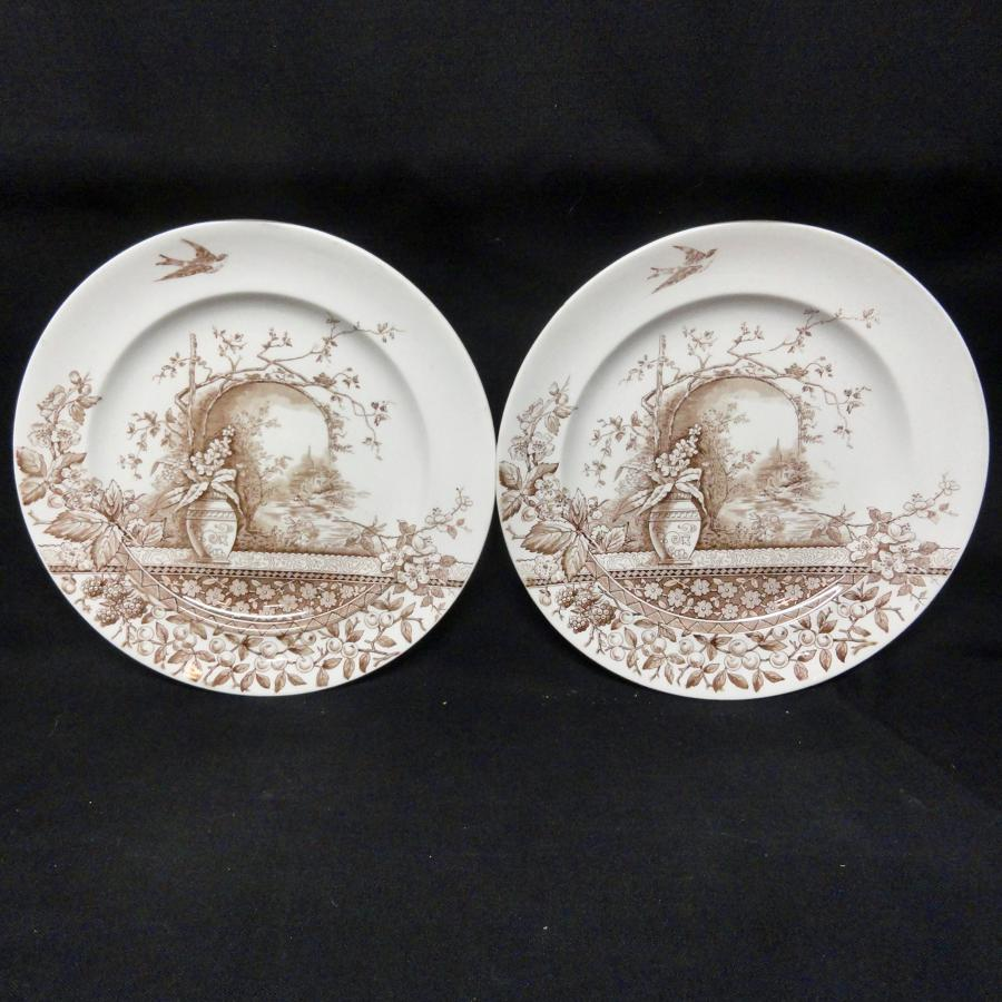 2 ~ Brown Transfer Aesthetic Movement Era Plates ~ RUSTIC 1886