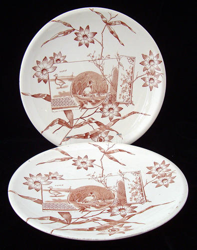 Two English Brown Transferware Plates ~ DUCKS & NATURE 1870