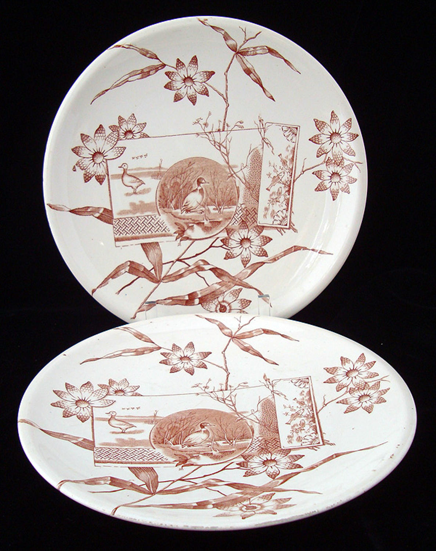 Two English Brown Transferware Plates ~ DUCKS & NATURE 1870