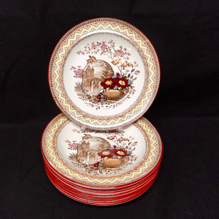 EIGHT Antique Rice Porridge Plates ~ Edinburg 1882