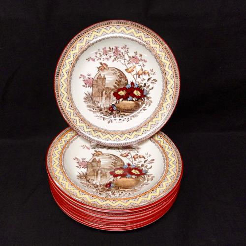 EIGHT Antique Rice Porridge Plates ~ Edinburg 1882