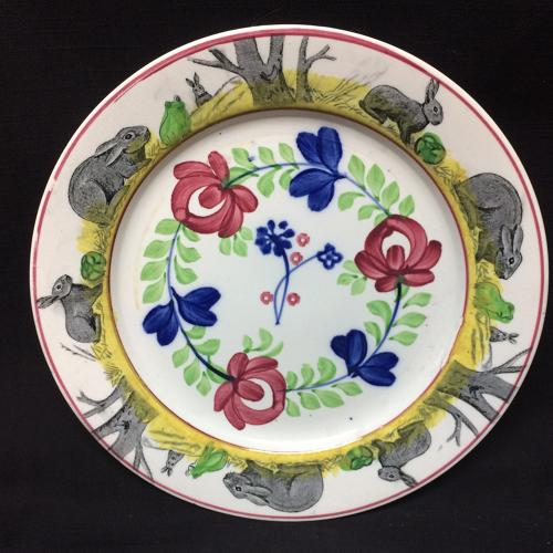 C 1900 ~ Stick Spatter Spongeware Rabbitware Plate ~ Adams Rose