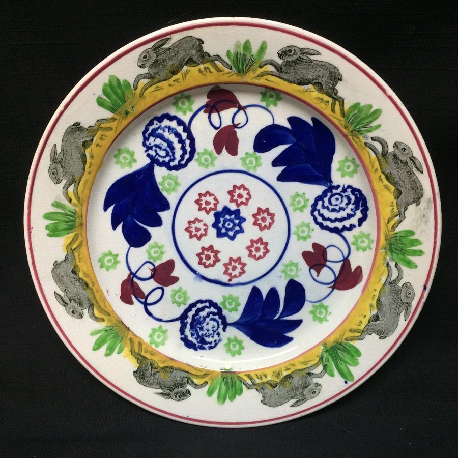 C 1900 ~ Spongeware Rabbitware Ironstone Plate ~ Bulls-Eye