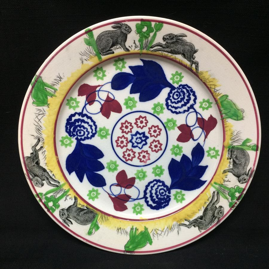C 1900 ~ Stick Spatter Rabbitware Ironstone Plate ~ Bulls-Eye
