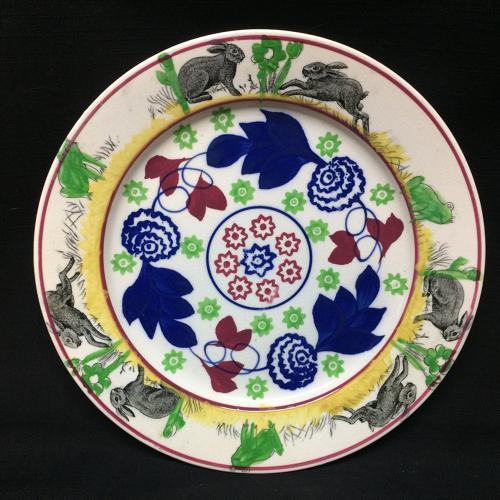 C 1900 ~ Stick Spatter Rabbitware Ironstone Plate ~ Bulls-Eye