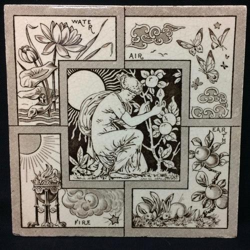 Brown Transfer Printed Tile ~ FOUR ELEMENTS 1882