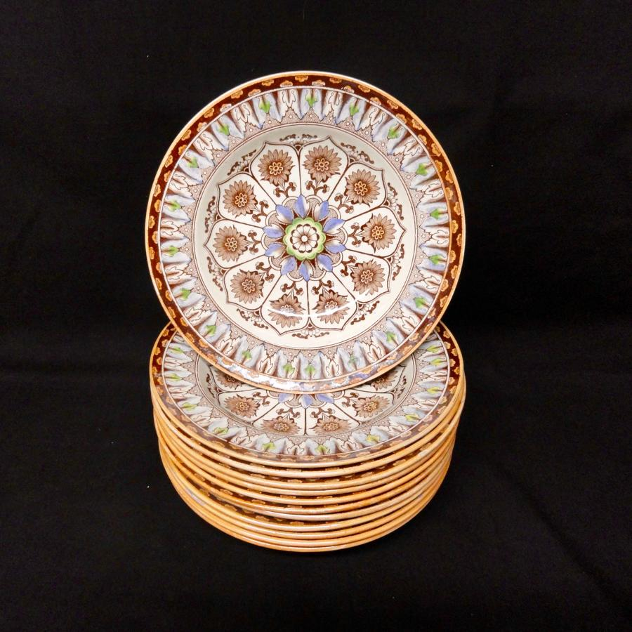 12 ~ Antique Victorian Polychrome Brownware Soup Plates ~ CYPRUS 1885