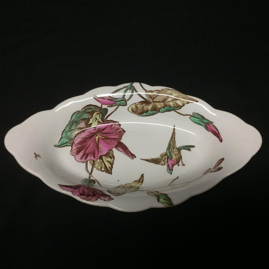 English Polychrome SondBird Celery Relish Tray 1882