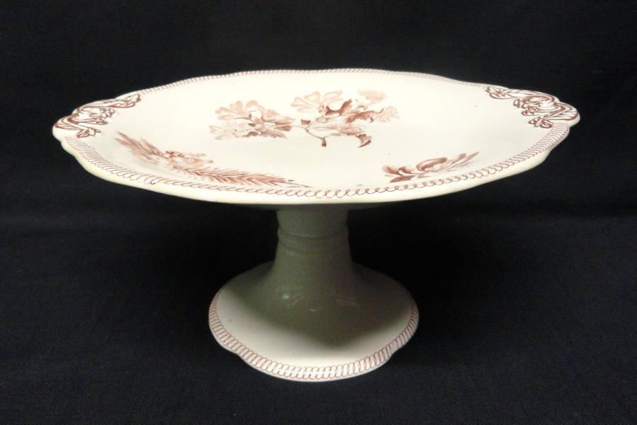 Wedgwood BOTANICAL Creamware Transferware Tazza 1878