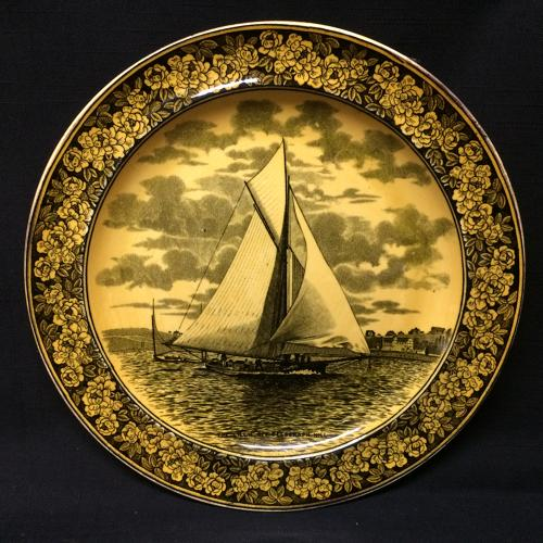 1905 ~ Wedgwood Transferware Yacht Regatta Plate ~ America's Cup THE