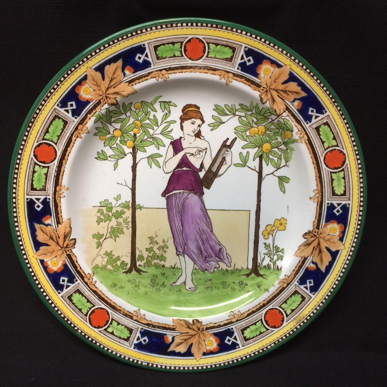 1891 ~ Superb Wedgwood Polychrome Plate ~ Greek Dancer ~ 1891