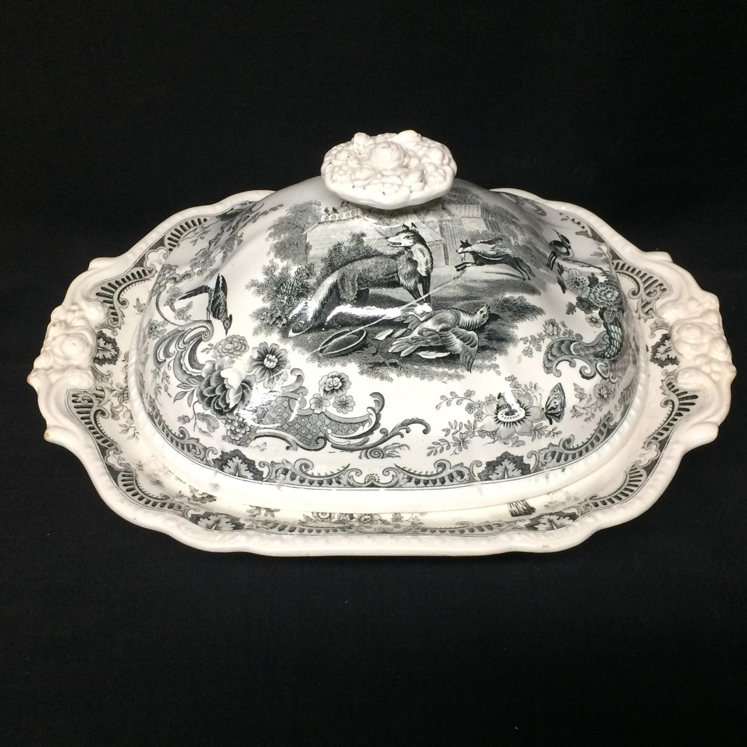 1820 ~ Rare Early Staffordshire Tureen ~ GOATS + FOXES ~ Zoological Sk