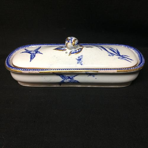 English Blue Transferware Razor Box ~ Alsace ~ 1875