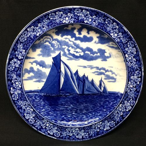1905 ~ Wedgwood Transferware Yacht Plate ~ America's Cup RUNNING