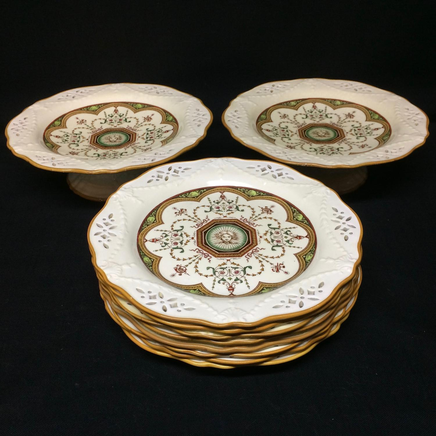 Eight Transferware Incised Plates & 2 Tazzas ~ Cherub 1873
