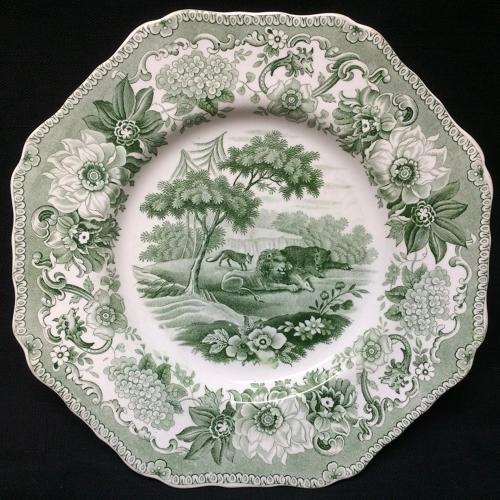 Staffordshire Spode Plate Lion & Fox & Bear ~ Aesop's Fables 1835