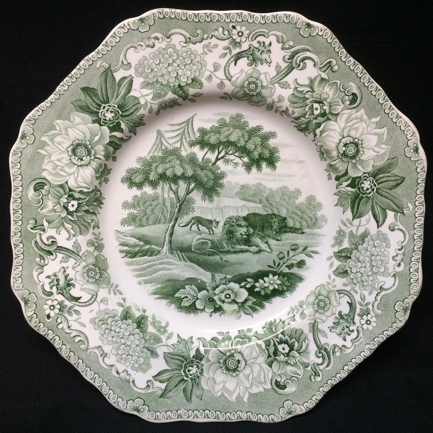 Staffordshire Spode Plate Lion & Fox & Bear ~ Aesop's Fables 1835