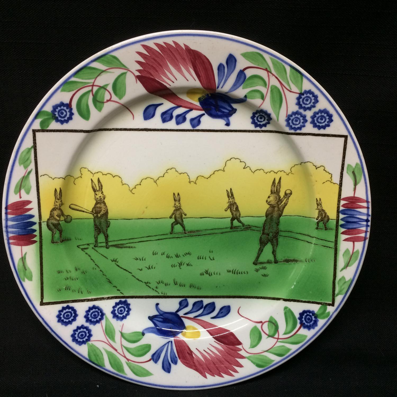 C 1900 ~ Anthropomorphized Rabbitware Rabbit Plate ~ BASEBALL