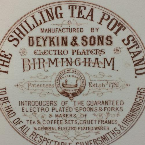 Charles Dickens Tea Pot Stand ~ Advertising 1885
