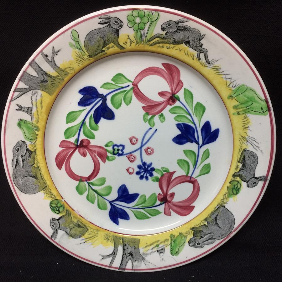 C 1900 ~ Stick Spatter Spongeware Rabbitware Ironstone Plate ~ Adams R