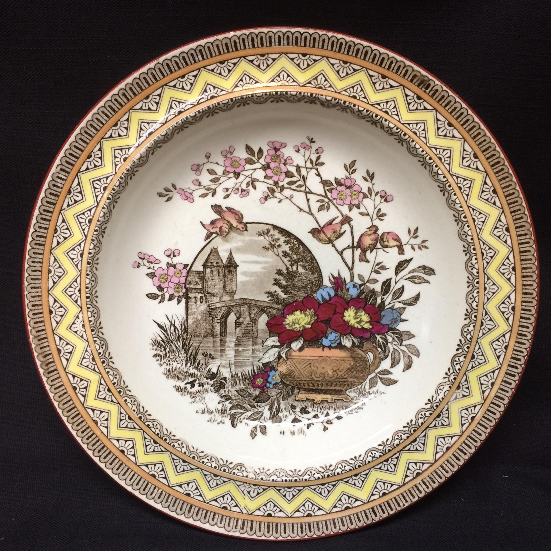 Antique Brown Transferware Soup Porridge Bowl Plate ~ Edinburg 1882