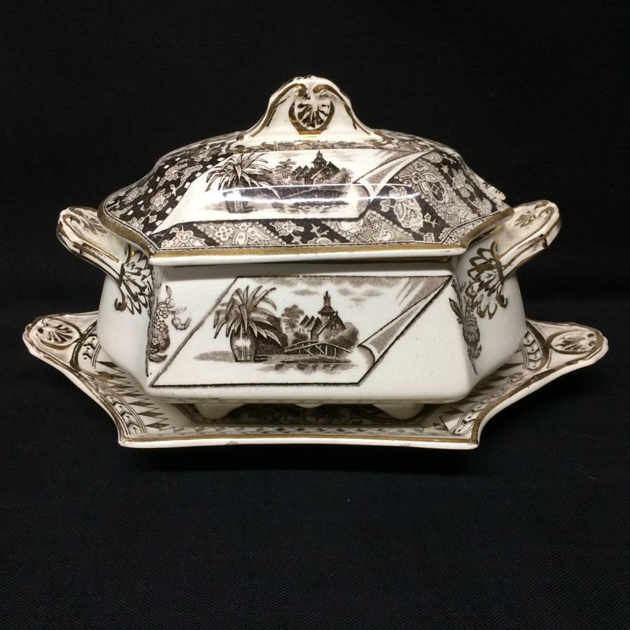 Brown Transferware Tureen & Platter ~ CANTERBURY 1883