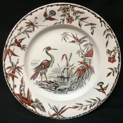 Aesthetic BROWN TRANSFERWARE Plate ~ INDUS 1885