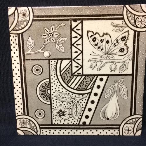Victorian Aesthetic Movement Transferware Tile ~ Pear & Butterfly ~ 18