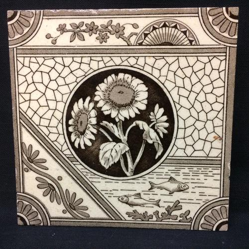 Victorian Aesthetic Movement Transferware Tile ~ Sunflower and Fish ~