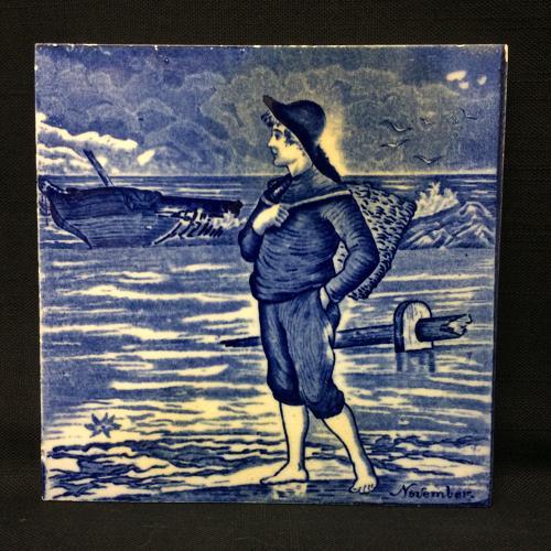 Tile ~ Wedgwood Dark Blue NOVEMBER Helen Miles 1879