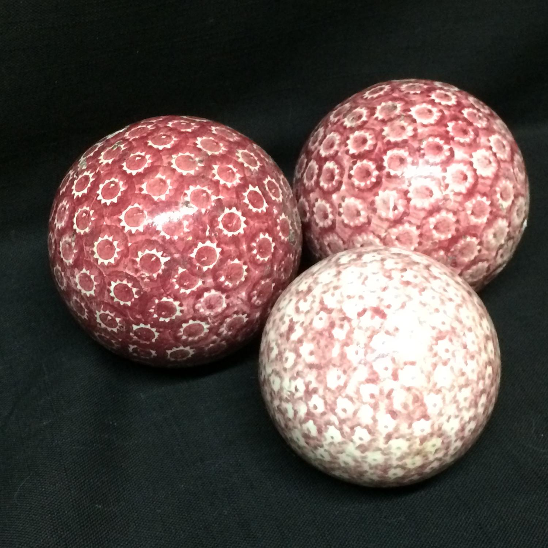 THREE Victorian Ceramic Sponged Scottish Carpet Balls