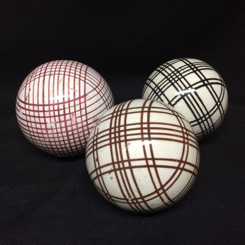 THREE Victorian Ceramic Striped Scottish Carpet Balls