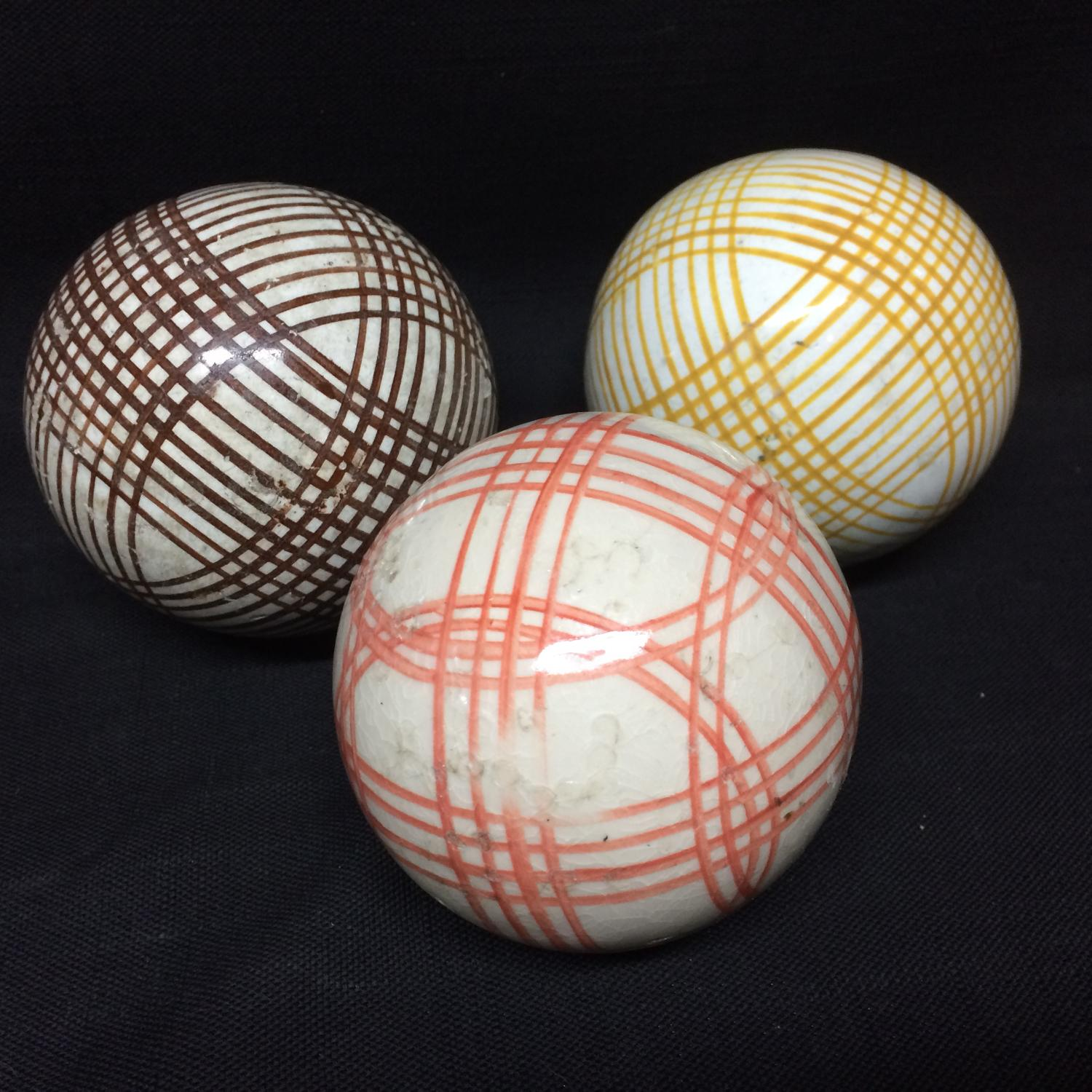 THREE Victorian Ceramic Striped Scottish Carpet Balls