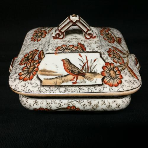 Brown Transferware Butter Keep ~ Devonshire 1884