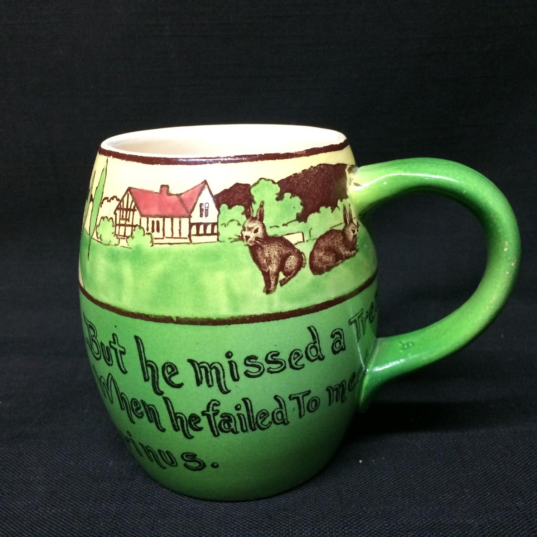 Rare Staffordshire St Augustine Rabbitware Frogs Pub Mug c1900