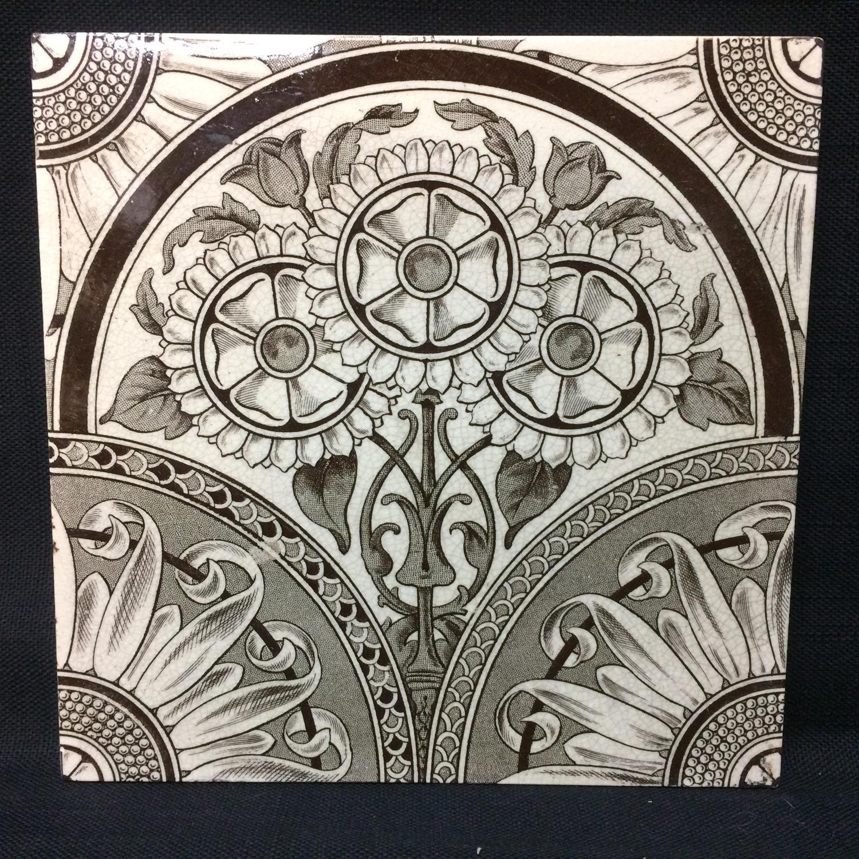 Victorian Brown Transferware Tile ~ Sunflower 1885