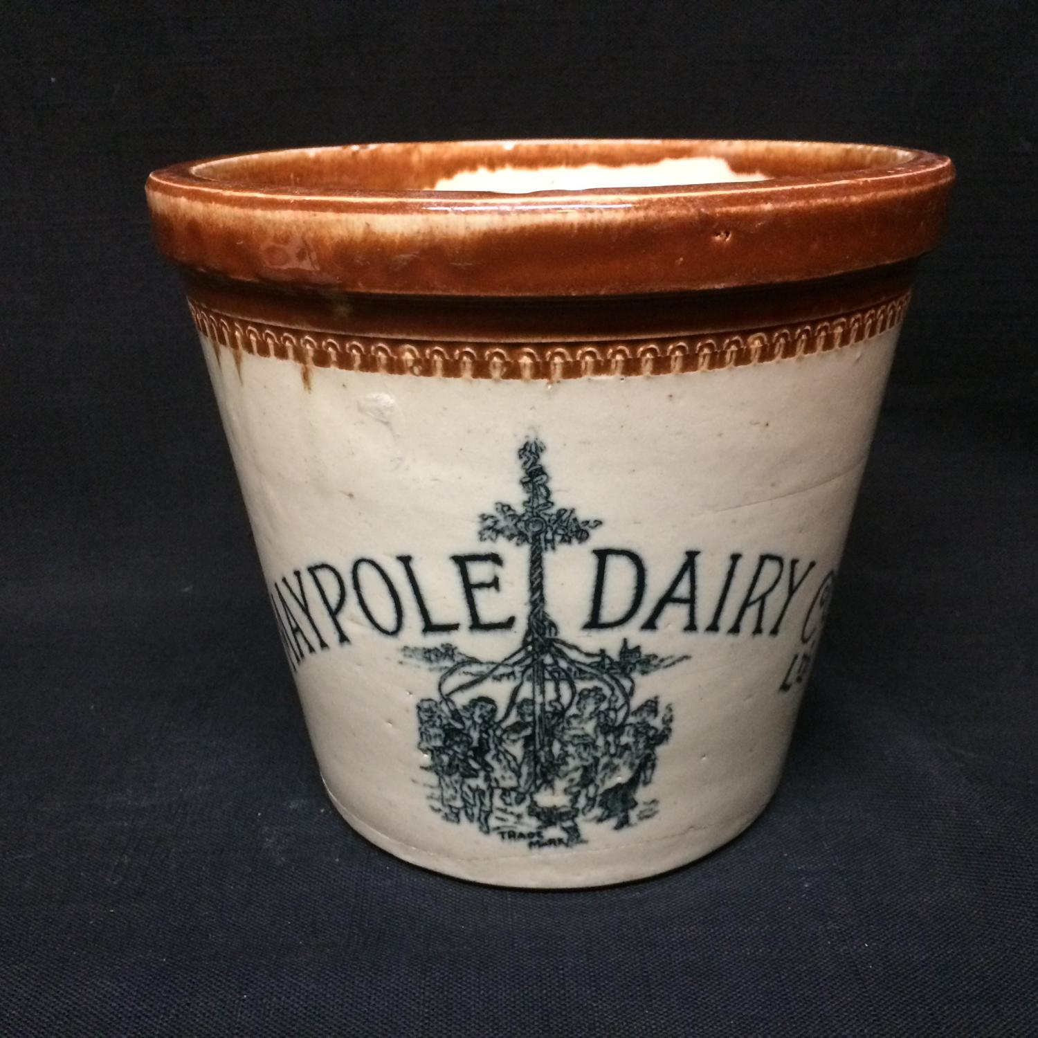 1920 ~ RARE PICTORIAL 4 lb MAYPOLE DAIRY Co BUTTER CROCK