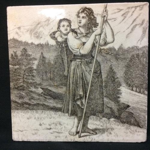 Minton Tile ~ Wm Wise Farm ~ Shepardess 1879